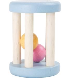 Chrastítko modré drevené s guličkami